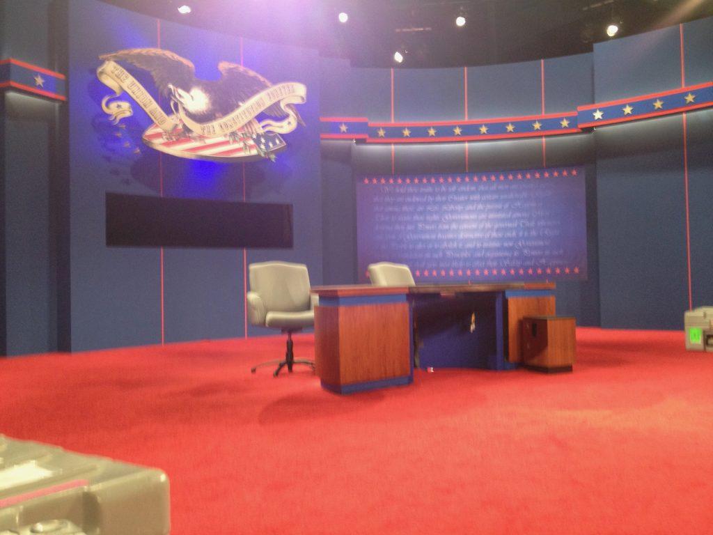 Een uur voor het nemen van deze foto zaten Obama en Romney hier nog.